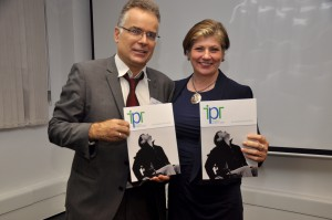 Emily Thornbury, MP for Islington South with Gerard Omast-Milsom at IPR AGM 2015.
